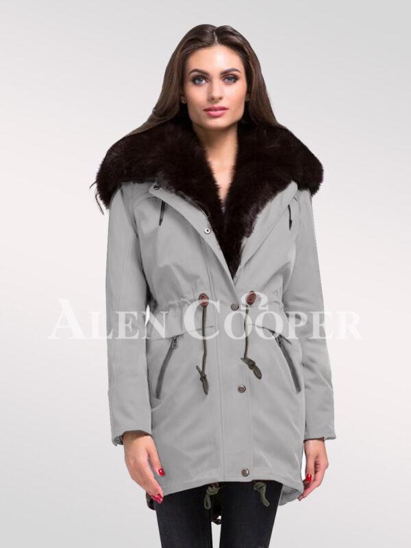 Refurbish your wardrobe with Arctic fox fur hybrid grey parka convertibles for womens new