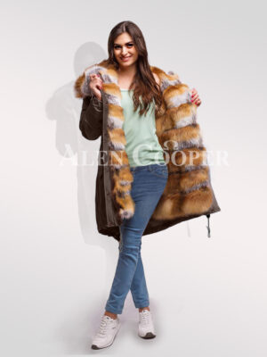 Reinvent your glamour with women Red Arctic fox fur hybrid coffee parka convertibles