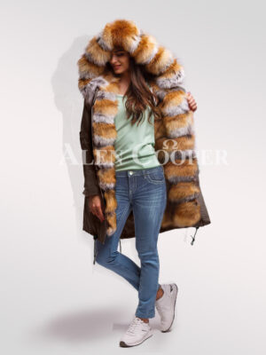 Reinvent your glamour with womens Red Arctic fox fur hybrid coffee parka convertibles