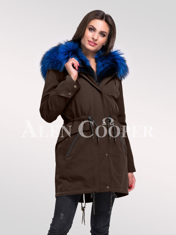 Reinvent yourself in aristocratic Arctic fox fur ladies' hybrid coffee parka convertibles