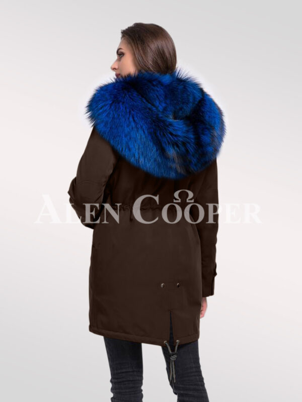 Reinvent yourself in aristocratic Arctic fox fur ladies' hybrid coffee parka convertibles back side view
