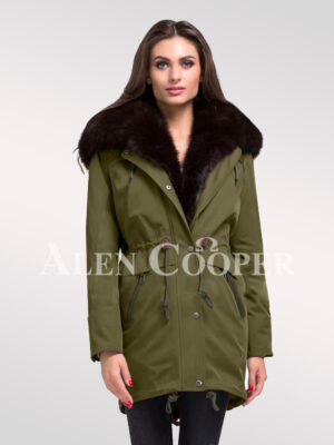 Reinvent yourself with ladies' Arctic fox fur hybrid green parka convertibles