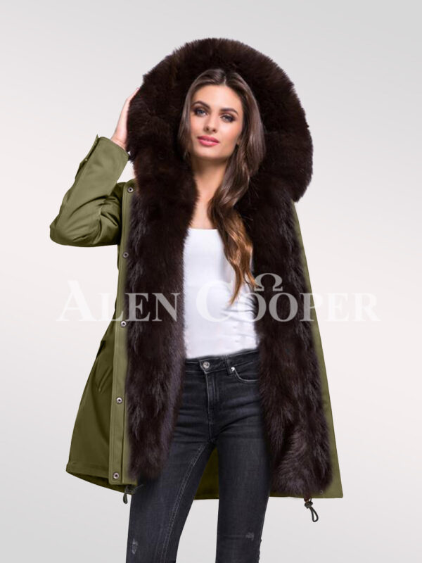 Reinvent yourself with ladies Arctic fox fur hybrid green parka convertibles