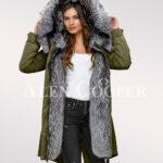 Scandinavian silver fox fur hybrid green parka convertibles for more graceful women