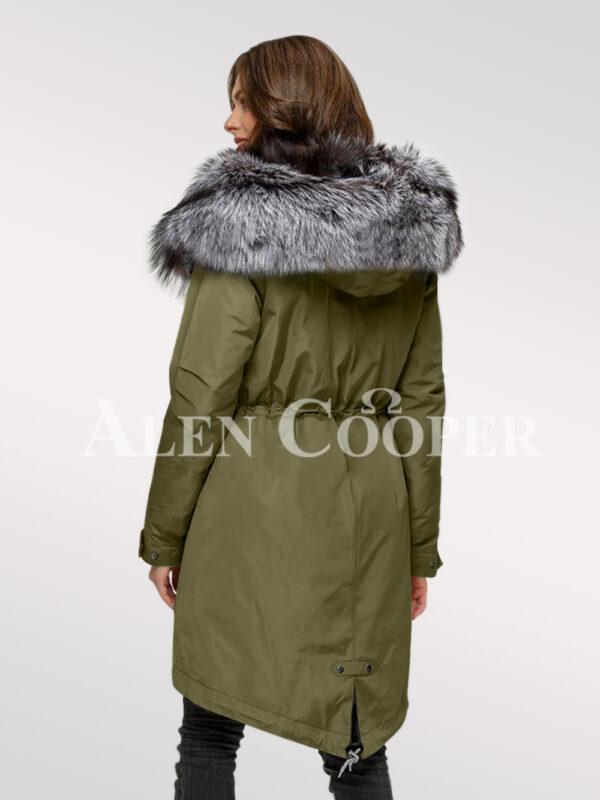 Scandinavian silver fox fur hybrid green parka convertibles for more graceful women back side view