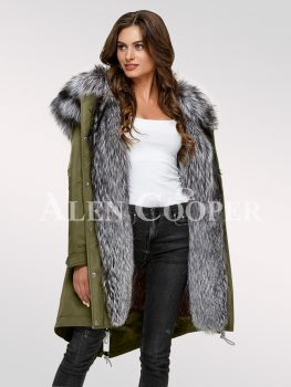 Scandinavian silver fox fur hybrid green parka convertibles for more graceful womens