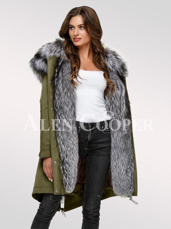 Scandinavian silver fox fur hybrid green parka convertibles for more graceful womens
