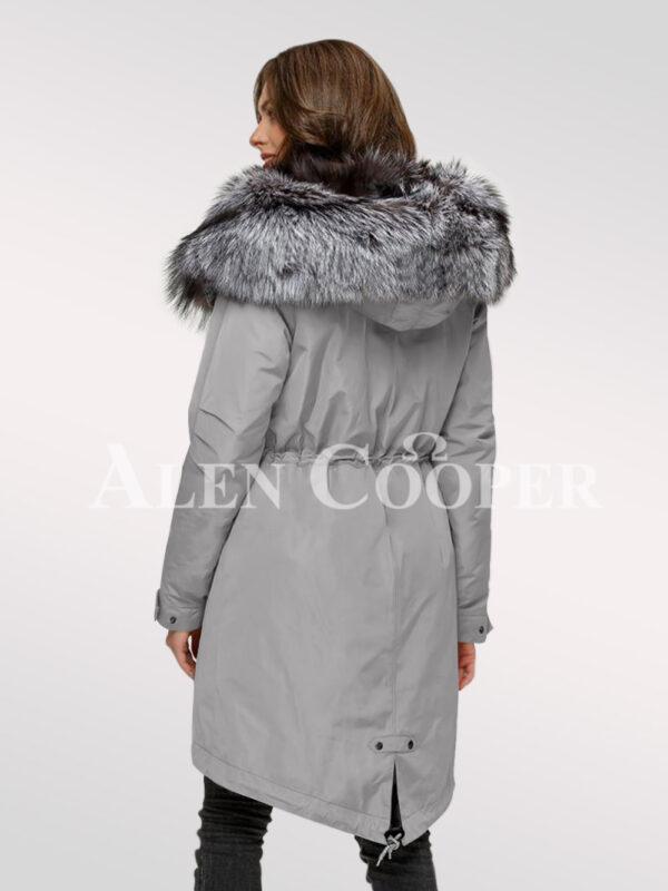 Scintillating Scandinavian silver fox fur hybrid grey parka convertibles for today's women back side view