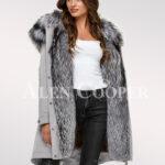 Scintillating Scandinavian silver fox fur hybrid grey parka convertibles for today women
