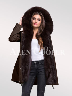 Time to refurbish your closet with Arctic fox fur hybrid coffee parka convertibles for female