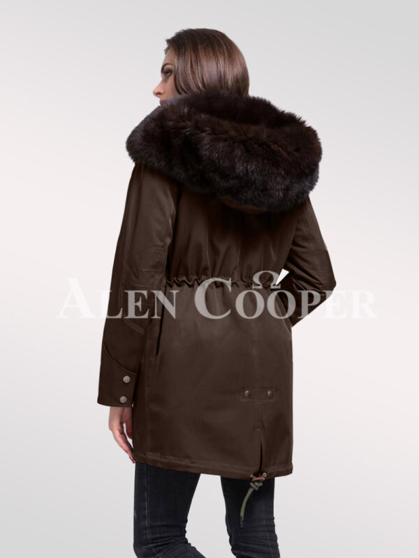 Time to refurbish your closet with Arctic fox fur hybrid coffee parka convertibles for females back side view