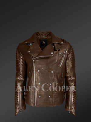 Chic and classy detachable Coffee biker jacket for men with Finn raccoon fur collar and frontline view