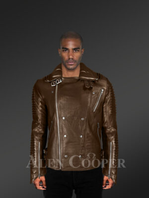 Chic and classy detachable Coffee biker jacket for men with Finn raccoon fur collar and frontline with model