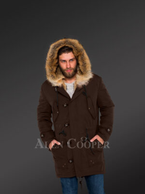 Golden Island fox fur hybrid coffee parkas for manly style and elegance new