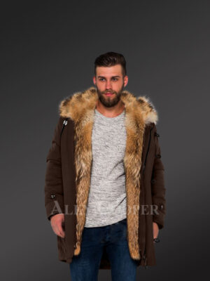 Golden Island fox fur hybrid coffee parkas for manly style and elegance new views