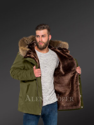 Hybrid green Finn raccoon fur parka convertibles to make men trendier and more fashionable new views