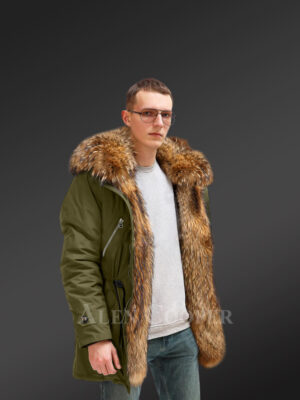 Improve your identity with Finn raccoon fur hybrid green parka convertibles for men new views