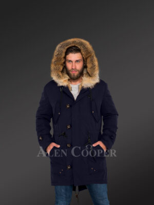Masculine and stylish Golden Island fox fur hybrid navy parkas for men new views