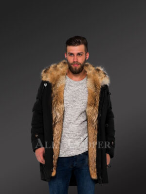 Men's Golden Island fox fur hybrid black parka convertibles for more stylish and elegant you! new