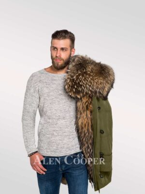 Men's hybrid Green Finn raccoon fur parka convertibles for style and elegance
