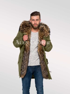 Men's hybrid Green Finn raccoon fur parka convertibles for style and elegance view