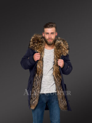 Men's hybrid Navy Finn raccoon fur parka convertibles to reinvent charm and smartness! new