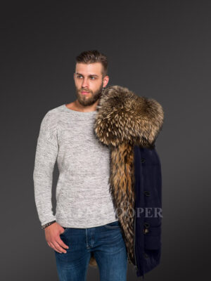 Men's hybrid Navy Finn raccoon fur parka convertibles to reinvent charm and smartness! new view