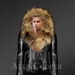 Men's Motorcycle Biker Jacket With Detachable Raccoon Fur Collar in Black with hood New