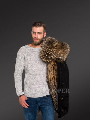 More charming and attractive men in hybrid Coffee Finn raccoon fur parka convertibles new