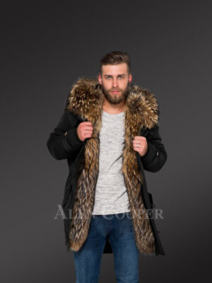 More charming and attractive men in hybrid Coffee Finn raccoon fur parka convertibles new view