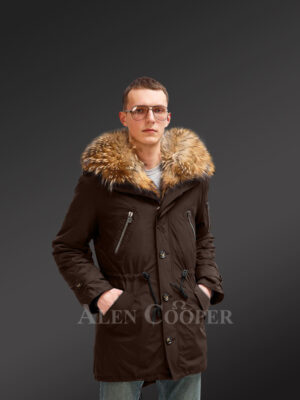 More stylish and elegant with Finn raccoon fur hybrid coffee parka convertibles for men new view