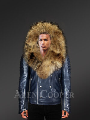Navy motorcycle leather jacket with detachable raccoon fur collar & zip-out fur hood for stylish Men With Model