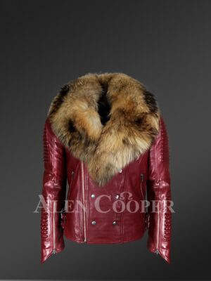 New Men's Wine Color Leather Moto Jacket with Real Raccoon Collar for winter