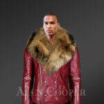 New Men's Wine Color Leather Moto Jacket with Real Raccoon Collar for winter new with model