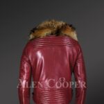 New Men's Wine Color Leather Moto Jacket with Real Raccoon Collar for winter side view back side view