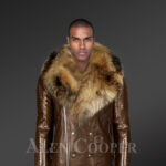 Raccoon fur collar real leather jacket with asymmetrical zipper closure in coffee new