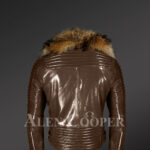 Raccoon fur collar real leather jacket with asymmetrical zipper closure in coffee new Back views