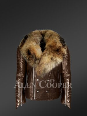 Raccoon fur collar real leather jacket with asymmetrical zipper closure in coffee new views