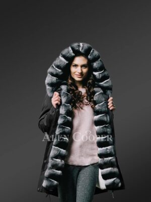 Redefining grandeur with chinchilla fur hybrid black parka convertibles 4 women