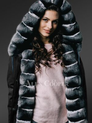 Redefining grandeur with chinchilla fur hybrid black parka convertibles for women new close view
