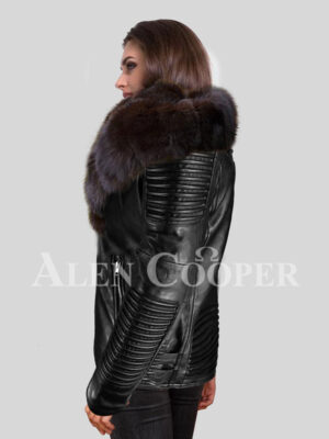Reinvent your grace with polar fox fur detachable jackets for women side view