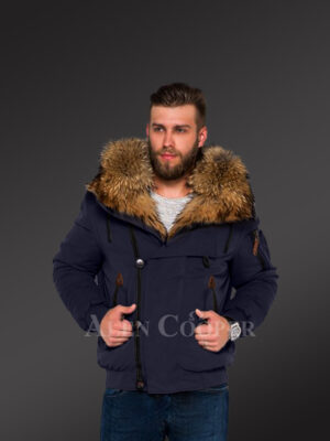 Tastefully crafted hybrid Finn raccoon fur Navy parka for men who dare! new views