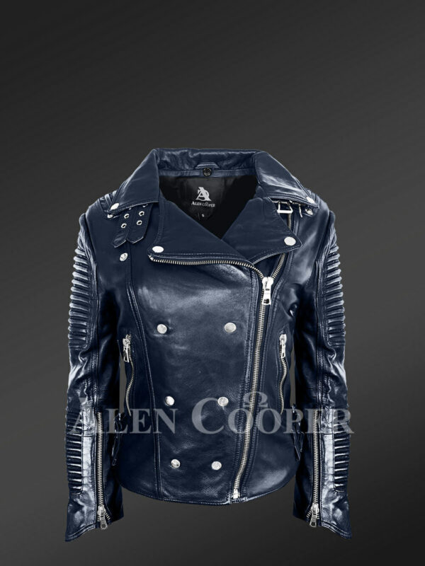 Chic navy motorcycle leather jacket for women