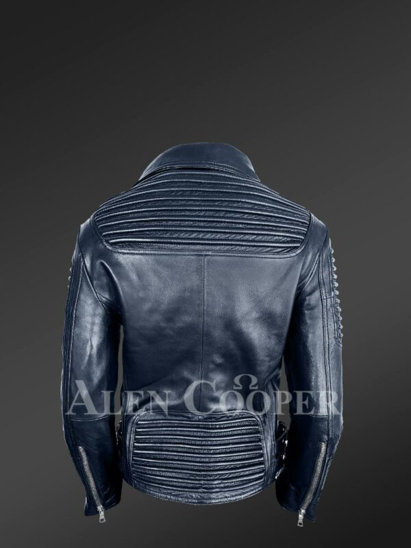 Chic navy motorcycle leather jacket for women Back side view