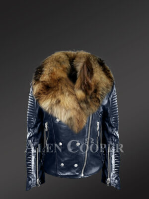 Chic navy motorcycle leather jacket for women with detachable raccoon fur collar