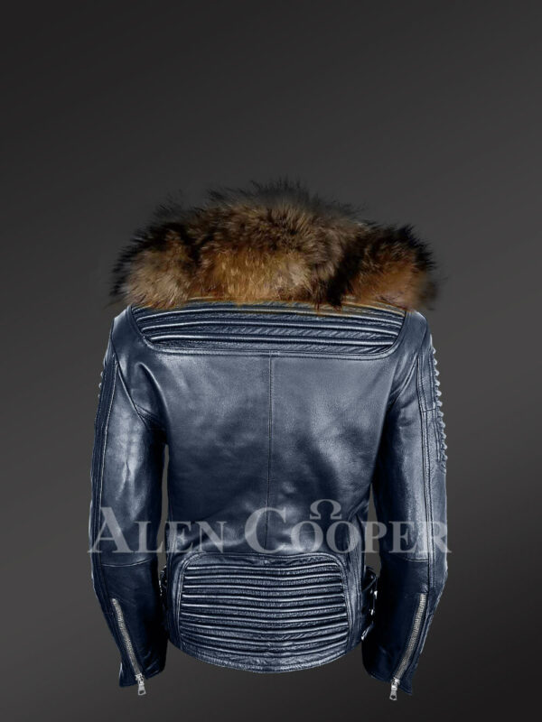 Chic navy motorcycle leather jacket for women with detachable raccoon fur collar back side view