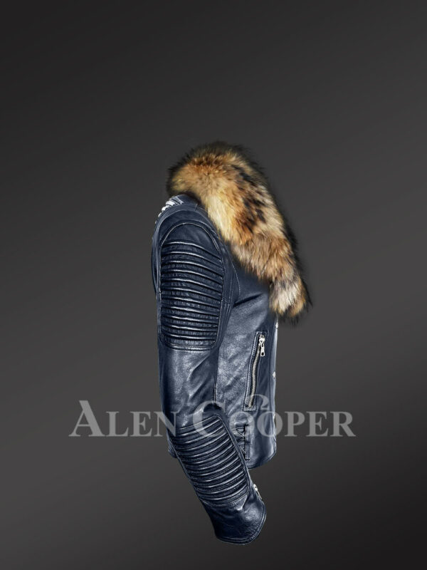 Chic navy motorcycle leather jacket for women with detachable raccoon fur collar side view