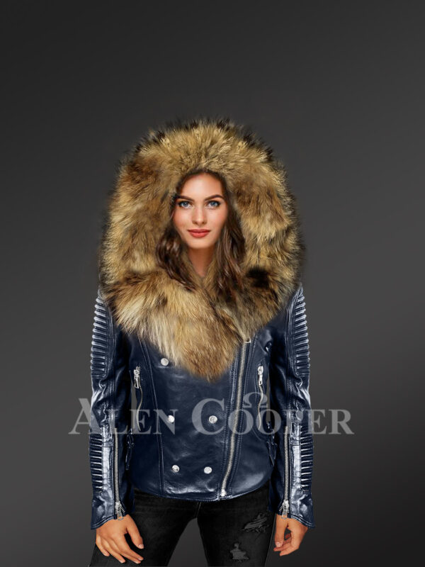 Chic navy motorcycle leather jacket for women with detachable raccoon fur collar & zip-out fur hood new