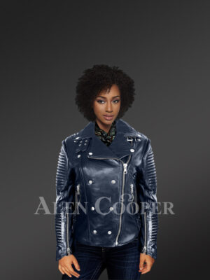 Chic navy motorcycle leather jacket for women with model