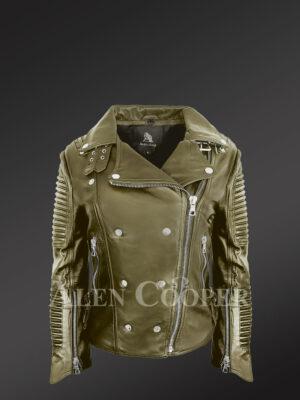Classy and feminine olive moto jacket for women